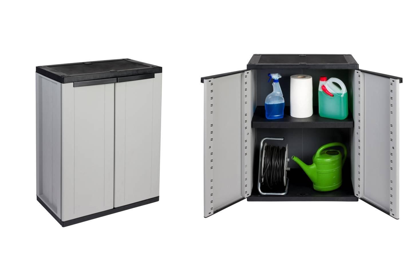 VORTEILSPACK : 2 Stü ck Kunststoffschrank, Balkonschrank in Grau mit abschließ baren Tü ren. Maß e pro Schrank: 68 x 37,5 x 85 cm. Kreher