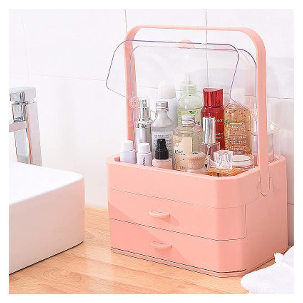RHVG Net red Makeup Box, Storage Box Extra Large, Drawer Storage Box, Portable Transparent Dressing Box, Skin Care Rack, dust Rack,-Pink