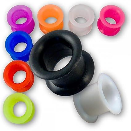 Fly Style® - 1 Stück - 4-24mm Silikon Tunnel in 9 Farben mit breitem Rand