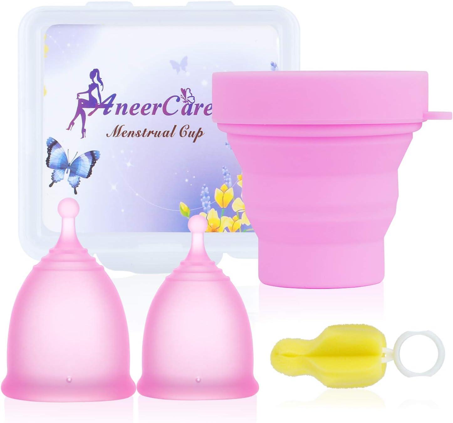 Aneercare - Juego de tazas menstruales plegables de limpieza, una taza menstrual pequeña y grande, con caja de almacenamiento PP y cepillo de limpieza ...