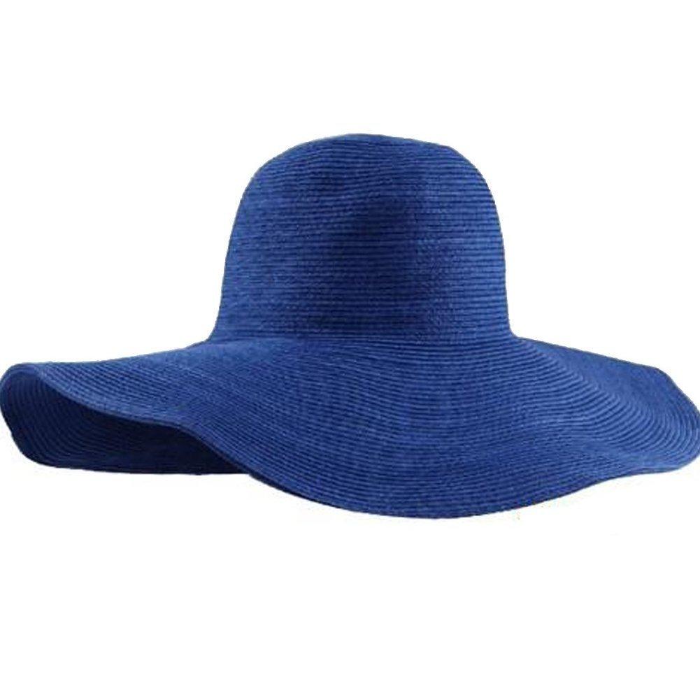 HugeStore Women Ladies Foldable Wide Brim Floppy Straw Sun Hat Beach Sun  Visor Hat Cap Blue  Amazon.co.uk  Kitchen   Home 030df2f3f69