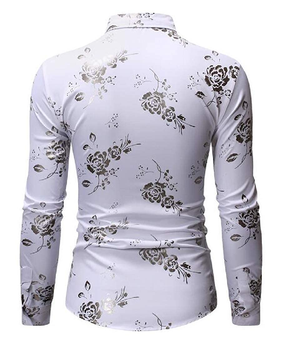 Suncolor8 Mens Lapel Long Sleeve Slim Casual Business Print Button Up Dress Work Shirt