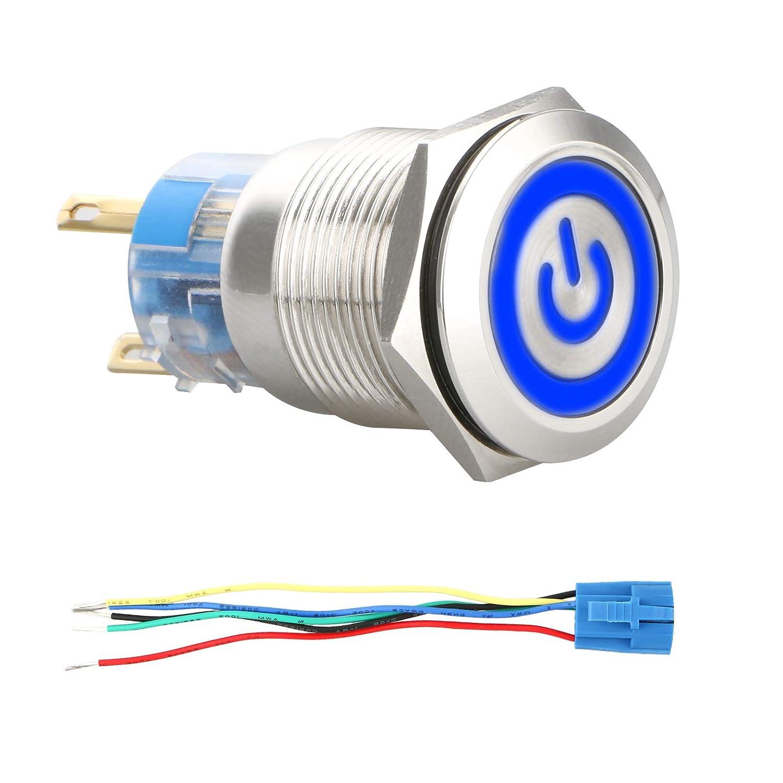 Interruttore a Pulsante Impermeabile con Luce a LED Blu e Spina a Filo Interruttore ON//off per Barca Camion 4 Pin Linkstyle DC 12V 19mm Interruttore a Pulsante a Scatto in Metallo