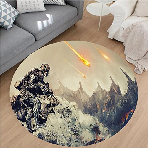 Nalahome Modern Flannel Microfiber Non-Slip Machine Washable Round Area Rug-ecor Futuristic Mechanical Armed Soldier in Battle Alien Planet Save the World Image Grey area rugs Home Decor-Round 32