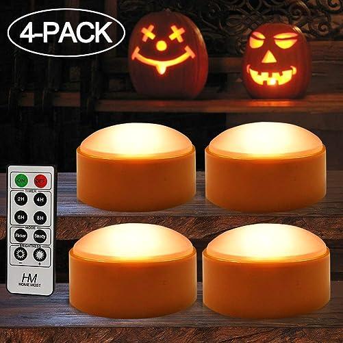 HOME MOST 4-Pack Halloween LED Pumpkin Lights Battery Operated – Orange Pumpkin Lights with Timer and Remote Halloween Decor – Halloween Jack-O-Lantern Decoration Outdoor – Flameless Pumpkin Candles