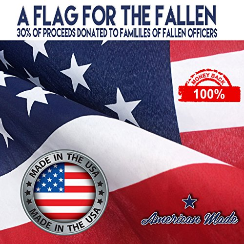 U.S. Flag 3x5 American Made + FREE Affiche [HEAVY DUTY POLYESTER] Metal Grommets. Quadruple Fly-End Stitching. 30% of Proceeds Donated to Families of Fallen Officers.:100%