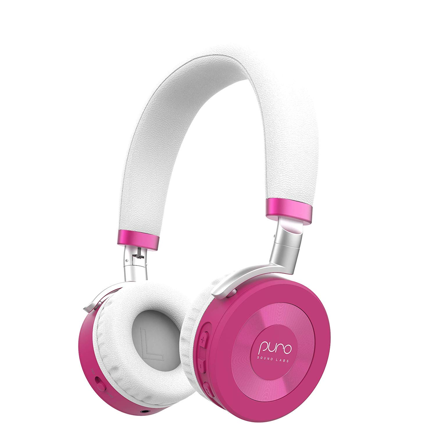 JuniorJams Volume Limiting Headphones for Kids 3 Protect Hearing Foldable Adjustable Bluetooth Wireless Headphones for Tablets, Smartphones, PCs 22-Hour Battery Life by Puro Sound Labs, Pink