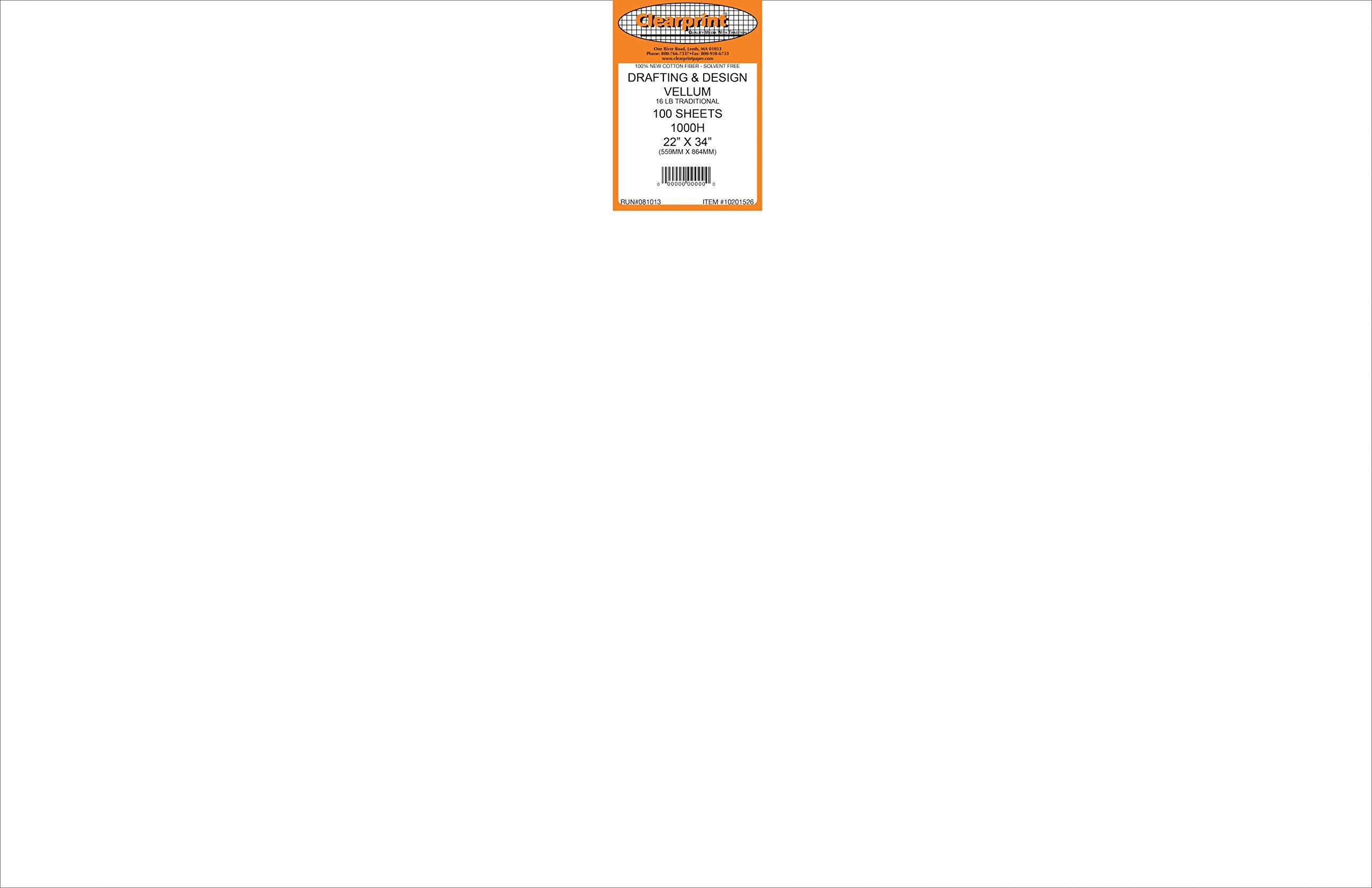 Clearprint 1000H Design Vellum Sheets, 16 lb., 100% Cotton, 22 x 34 Inches, 100 Sheets Per Pack, Translucent White, 1 Each (10201526)