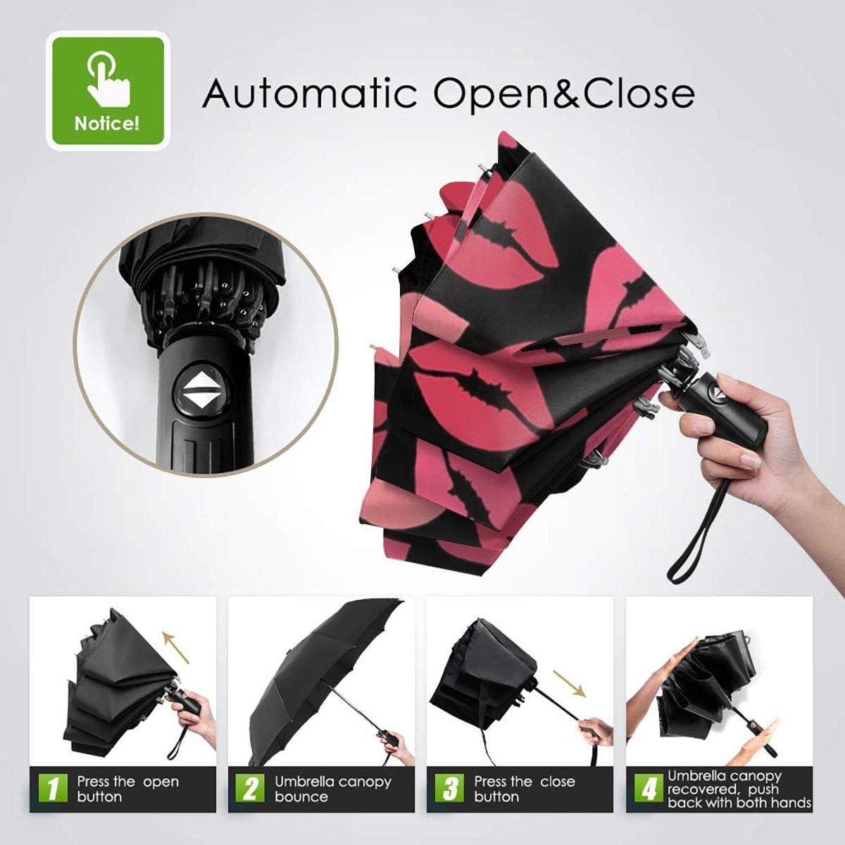 Pink Lips Automatic Tri-Fold Umbrella Parasol Sun Umbrella Sunshade