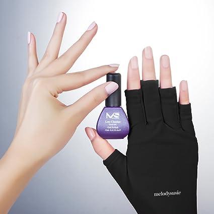 MelodySusie® LYCRA Guantes de protección UV - un must-have Guantes de protección UV para accesorios de secado de la lámpara de uñas UV / LED (negro ...