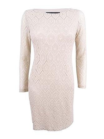 Jessica Howard Womens Petites Metallic Shift Special Occasion Dress