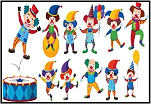 Set of Colorful Illustrated Clowns 9024081 (36x17 1/8 Framed Gallery Wrapped Stretched Canvas)