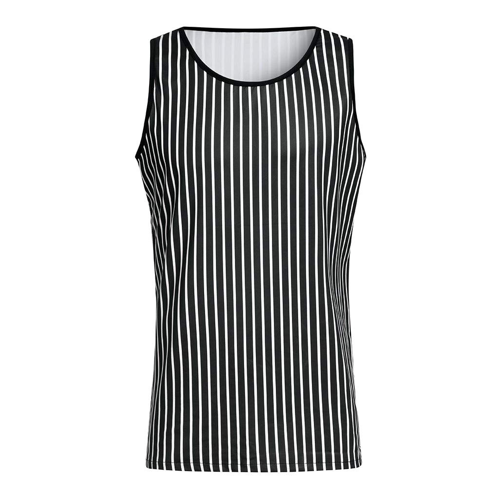 aiNMkm Men's T-Shirts Graphic Music,Men Fitness Muscle Striped Print Sleeveless Bodybuilding Tight-Drying Vest Tops,Black,M