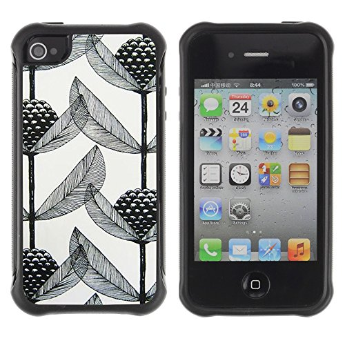 Apple Iphone 4 / 4S - Art Black White Branch