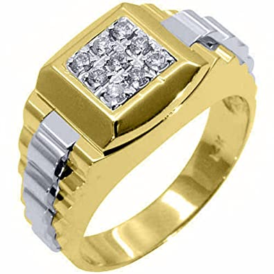 Mens Rolex Ring Two Tone Gold Square Diamond Ring 45 Carats