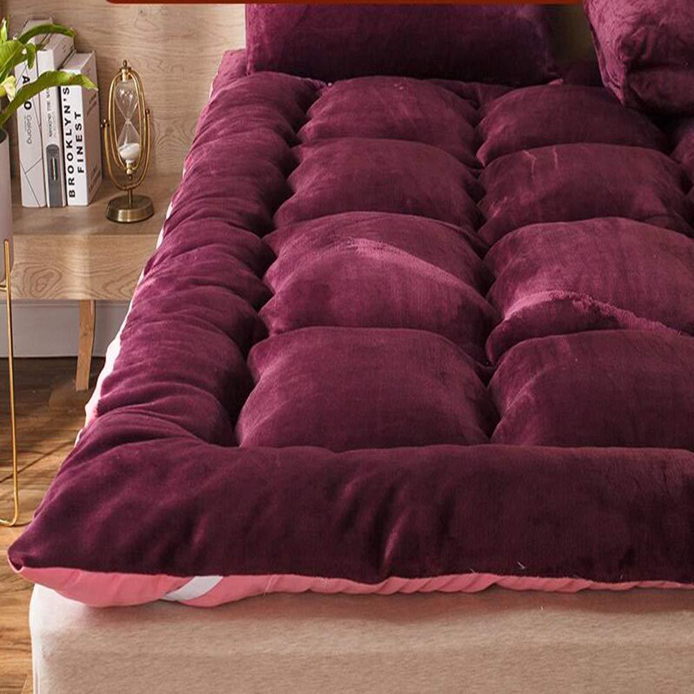 Love Home Tatami Matratzenauflage, Plüsch Feder, Samt, atmungsaktiv, für Studenten, King-Size, Schlafmatratze, Schaumstoff, rot, 180x200cm(71x79inch)