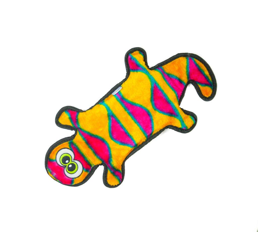 Outward Hound Invincibles Plush Gecko Dog Toy Red/Orange 2 Squeaker