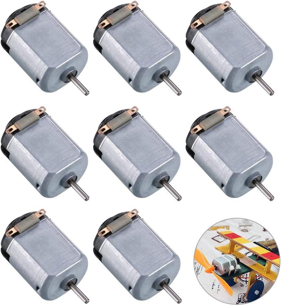 GOLRISEN 8pcs Motores Electricos Pequeños DC 3V 14.500 RPM Alta Velocidad 800mA Mini Motor Eléctrico para Crear Maquetas, Manualidades, Pequeños Robots, 4WD Coche Teledirigido