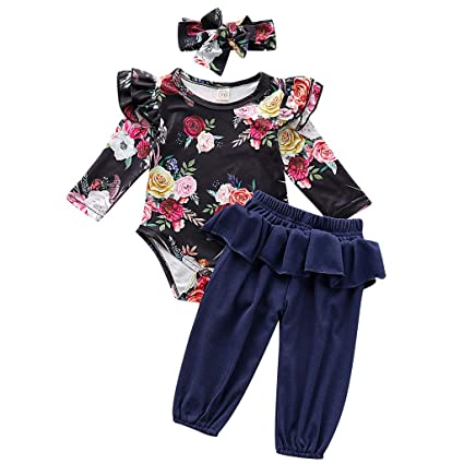 Luonita Toddler Kids Baby Boy Flower Print Long Sleeve Casual Cute Romper Bodysuit Jumpsuit Outfirs Clothes for 0-24M