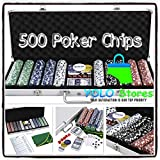 Poker Chips Playing Cards Set Casino Texas Holdem Dice Felt 500 Chip w/ Aluminum Case Blackjack By YOLO Stores