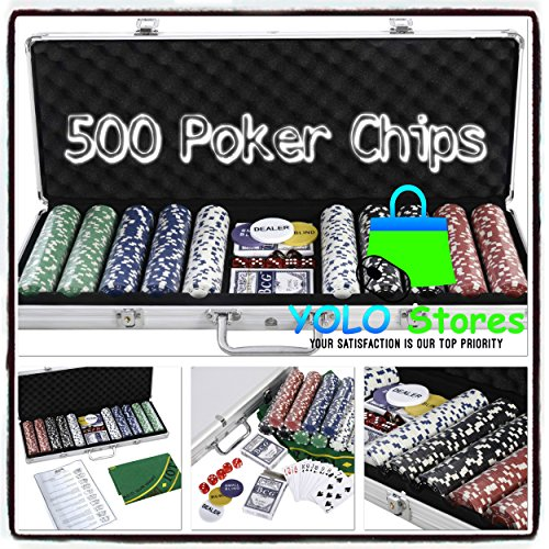 Poker Chips Playing Cards Set Casino Texas Holdem Dice Felt 500 Chip w/ Aluminum Case Blackjack By YOLO Stores by YOLO Stores