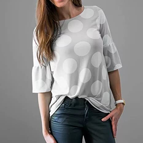 Amazon.com: Blouses for Womens, FORUU Fashion Flare Sleeve Dot Printed Causal T Shirts Tops: Clothing