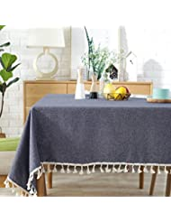 ColorBird Solid Color Tassel Tablecloth Cotton Linen Dust-Proof Table Cover for Kitchen Dinning Tabletop Decoration (Rectangle/Oblong, 55 x 86 Inch, Navy)