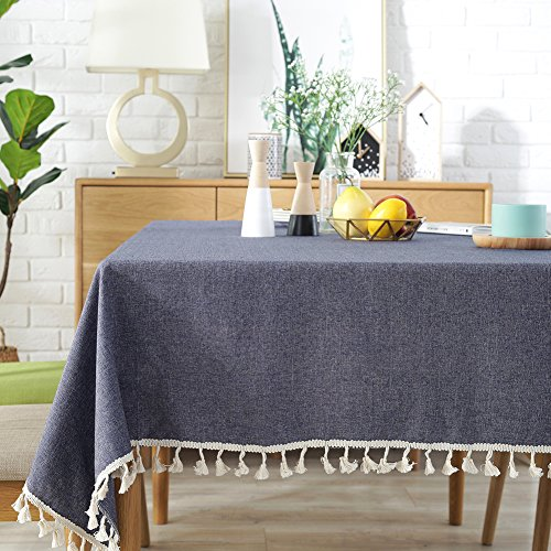 ColorBird Solid Color Tassel Tablecloth Cotton Linen Dust-Proof Table Cover for Kitchen Dinning Tabletop Decoration (Square, 55 x 55 Inch, Navy)