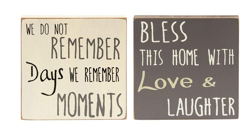 Hearthside Set of 2 Mini Wood Block Signs 'Remember Moments' & 'Bless This Home'