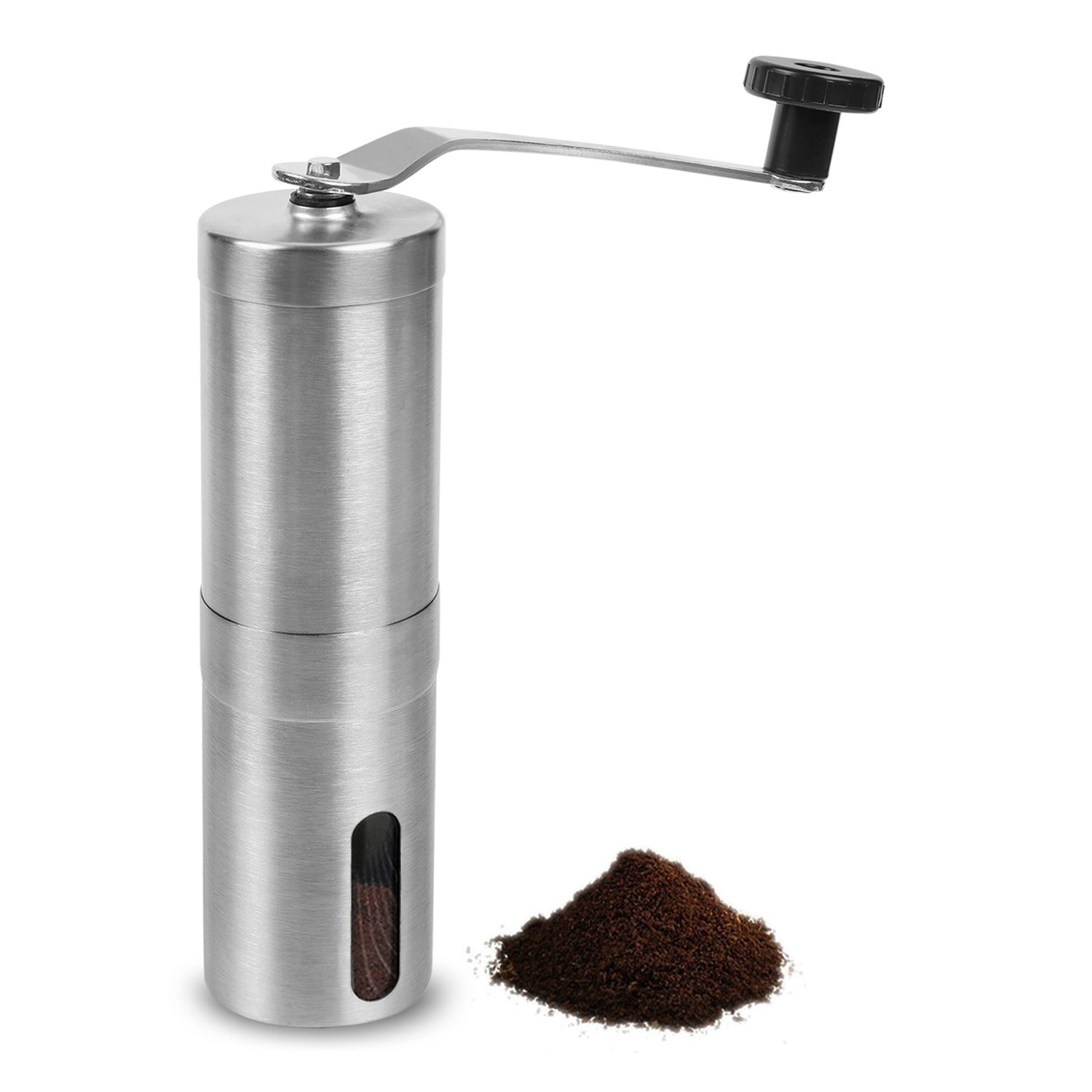 TopNoble Manual Coffee Grinder, Stainless Steel, Ceramic Conical Burr Mill, Ergonomics Hand Crank Design