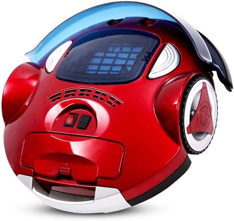 BYBYC Robotic Vacuum Cleaner with High Suction, LCD Display, Multi-Task Schedule, Path Mode for Hard Floor and Thin, Red