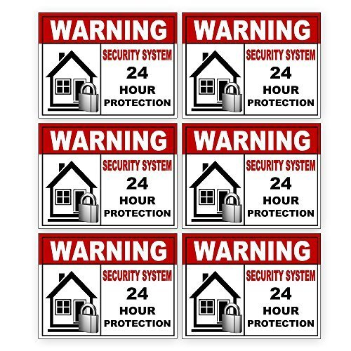 6 Pack Security Alarm Sticker Best for Home and Business for Indoor/Outdoor Use Long Lasting Weather Proof Window & Door Security 3x4in. Free 1yr Warranty Made in USA