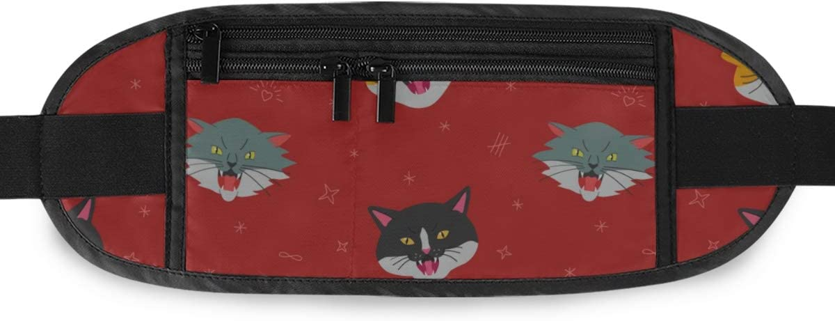 Travel Waist Pack,travel Pocket With Adjustable Belt Angry Hissing Cats Head Pattern Dark Running Lumbar Pack For Travel Outdoor Sports Walking