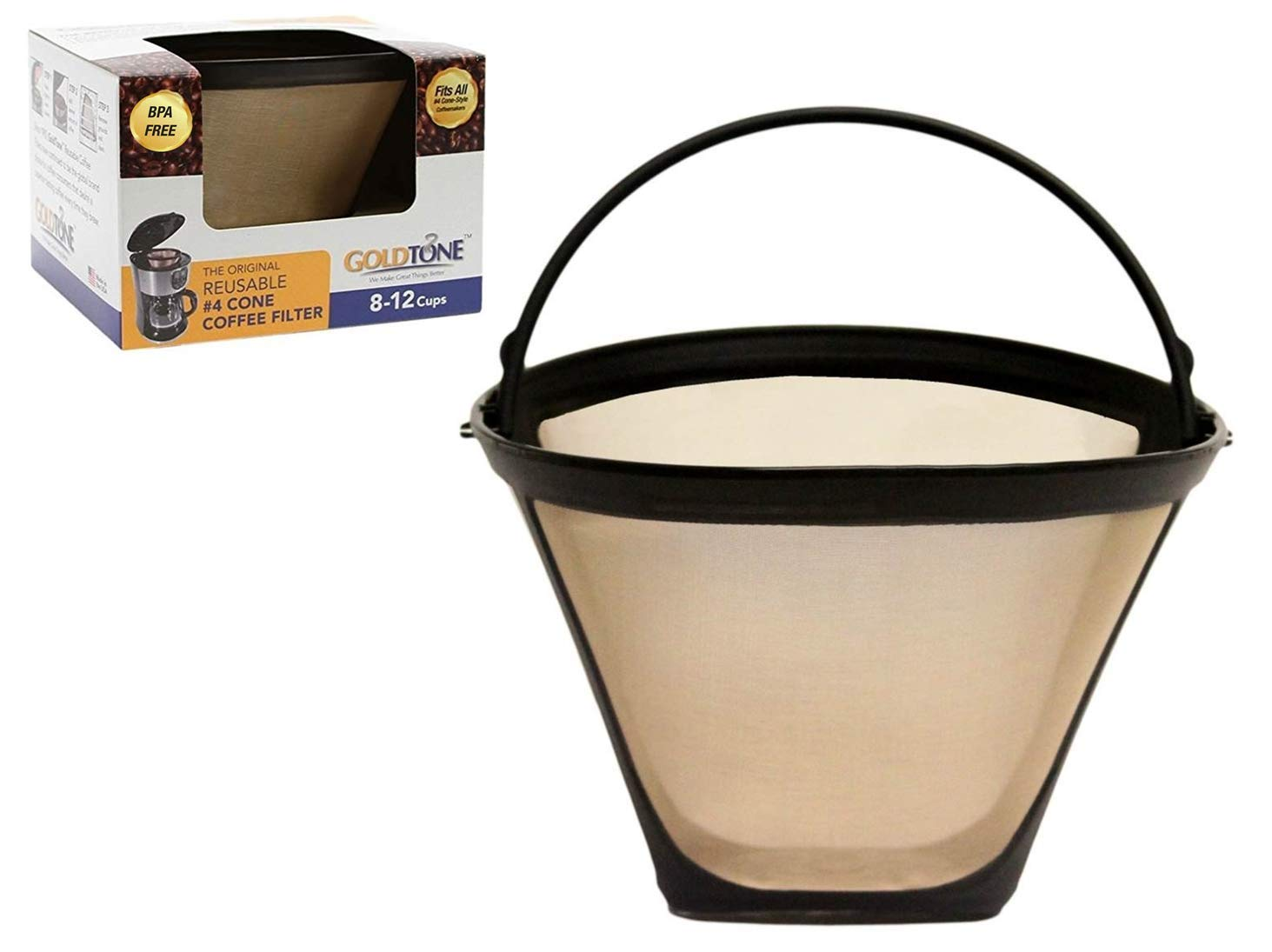 GoldTone Brand Reusable No.4 Cone Filter replaces Black+Decker No.4 Cone Coffee Filter and Permanent Black & Decker Coffee Filter for Black and Decker Machines and Brewers