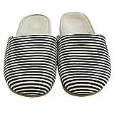 LOVE of ANTS Women Men Indoor Linen Striped Slippers (8-12 D(M) US, Coffee)