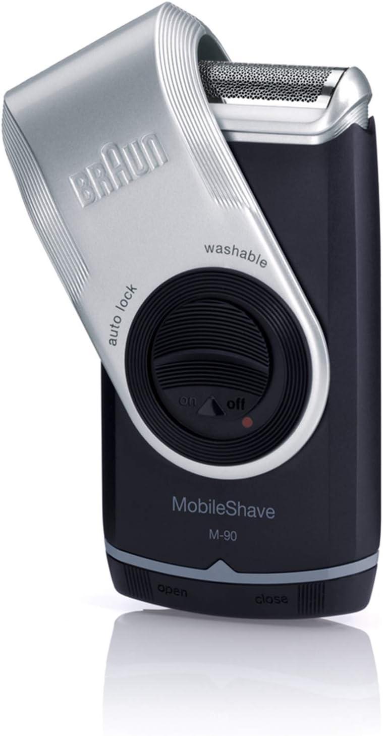 Braun MobileShave M-90 - Afeitadora eléctrica rotativa para hombre, color negro y gris