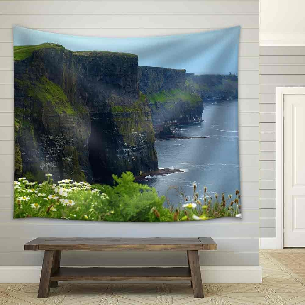 wall26 - Photo Famous Cliffs of Moher,Sunet Capture,West of Ireland - Fabric Wall Tapestry Home Decor - 68x80 inches
