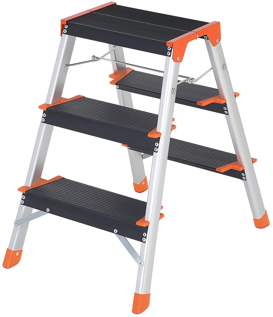 SONGMICS Escalera de 3 Peldaños, Escalera de Aluminio Plegable, Peldaños en Forma de A, de Doble Cara, Peldaños de 12 cm de Ancho con Ranuras, Pies Antideslizantes, carga 150 kg, Plata GLT23BK: