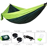 """CASST Camping Hammock with Tree Straps, Single & Double Outdoor Hammock, Lightweight Portable Nylon Hammock - Easy Hanging for Backpacking, Camping, Travel, Beach, Yard - 106""""(L) x 55""""(W) - Green"""