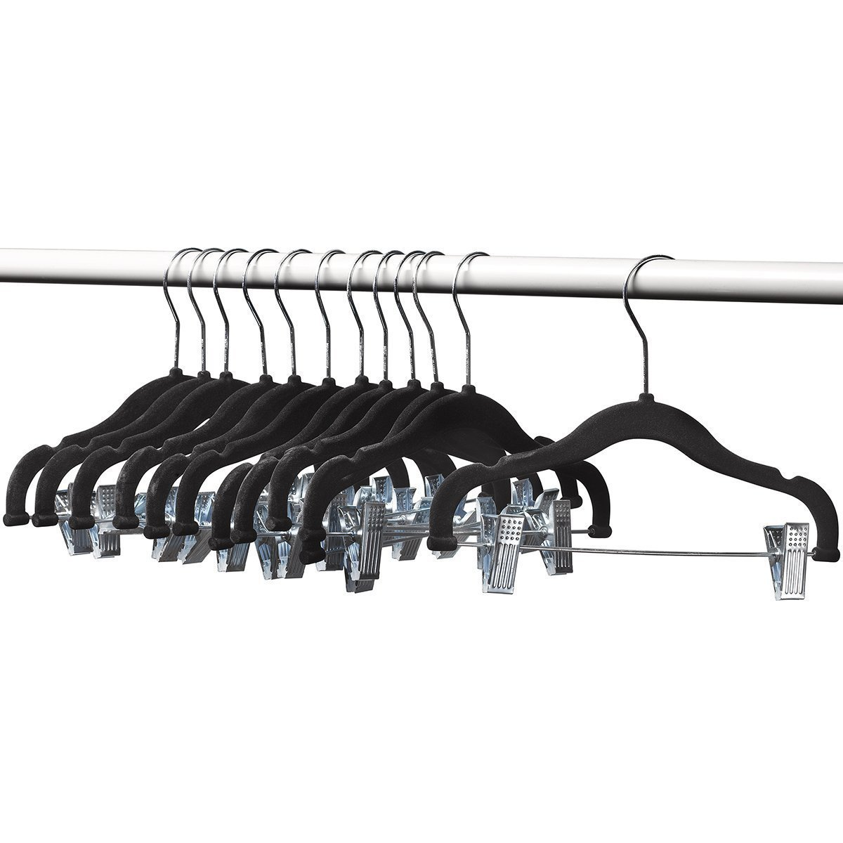 A1-hangers 12 PACK Kids hangers with clips BLACK (13'' length) baby Clothes Hangers Velvet Hangers use for skirt hangers Clothes Hanger pants hangers Ultra Thin No Slip kids hangers