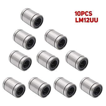 10 rodamientos lineales LM12UU de 12 x 20 x 30 mm, rodamientos de ...