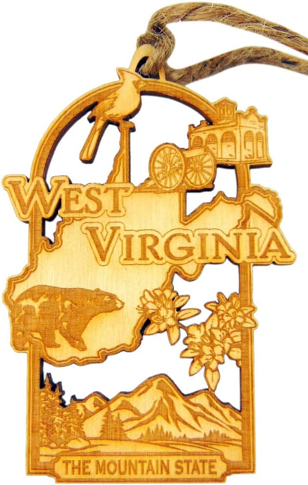 West Virginia Handmade Wooden Christmas Tree Decoration Mountain State Decor