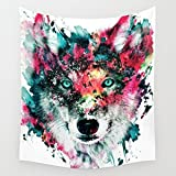 "Multicolor Wolf Staring at The Front Painting Wall Hanging Tapestry with Romantic Pictures Art Nature Home Decorations for Living Room Bedroom Dorm Decor (51""H x 60""W, Wolf)"