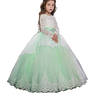 7b2b2e53f89 Pageant Flower Girls Dress Lace Long Sleeves Princess Tulle Ball Gown Aqua  US 2