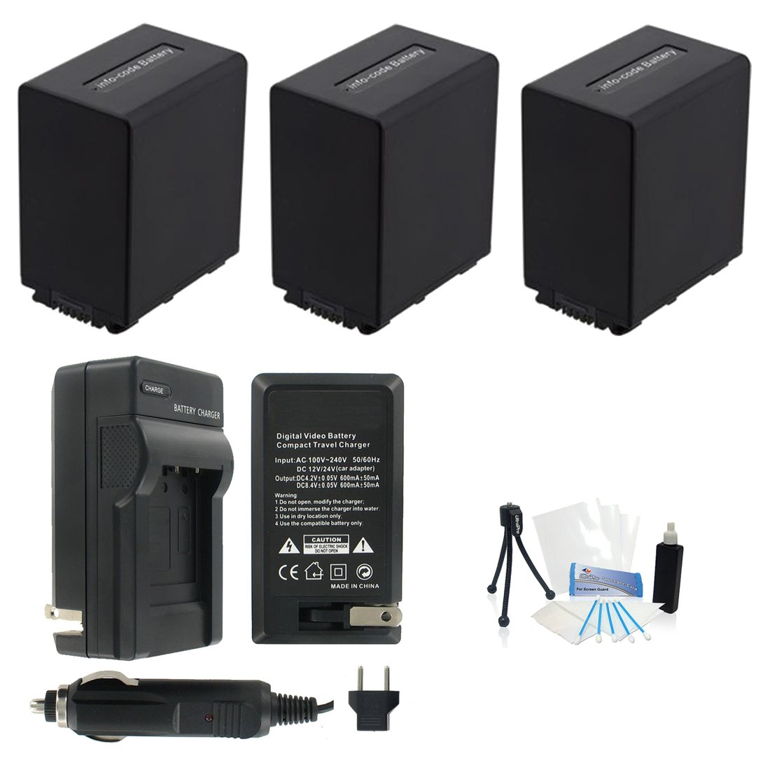3-Pack NP-FV100 High-Capacity Replacement Batteries with Rapid Travel Charger for Select Sony Digital Cameras. UltraPro Bundle Includes: Camera Cleaning Kit, Screen Protector, Mini Travel Tripod