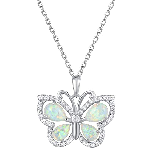 Fancime 925 Sterling Silver White Created Opal Butterfly Pendant Necklace Cubic Zirconia CZ Fine Jewelry Gifts For Women Girls 16 2 Extender Butterfly