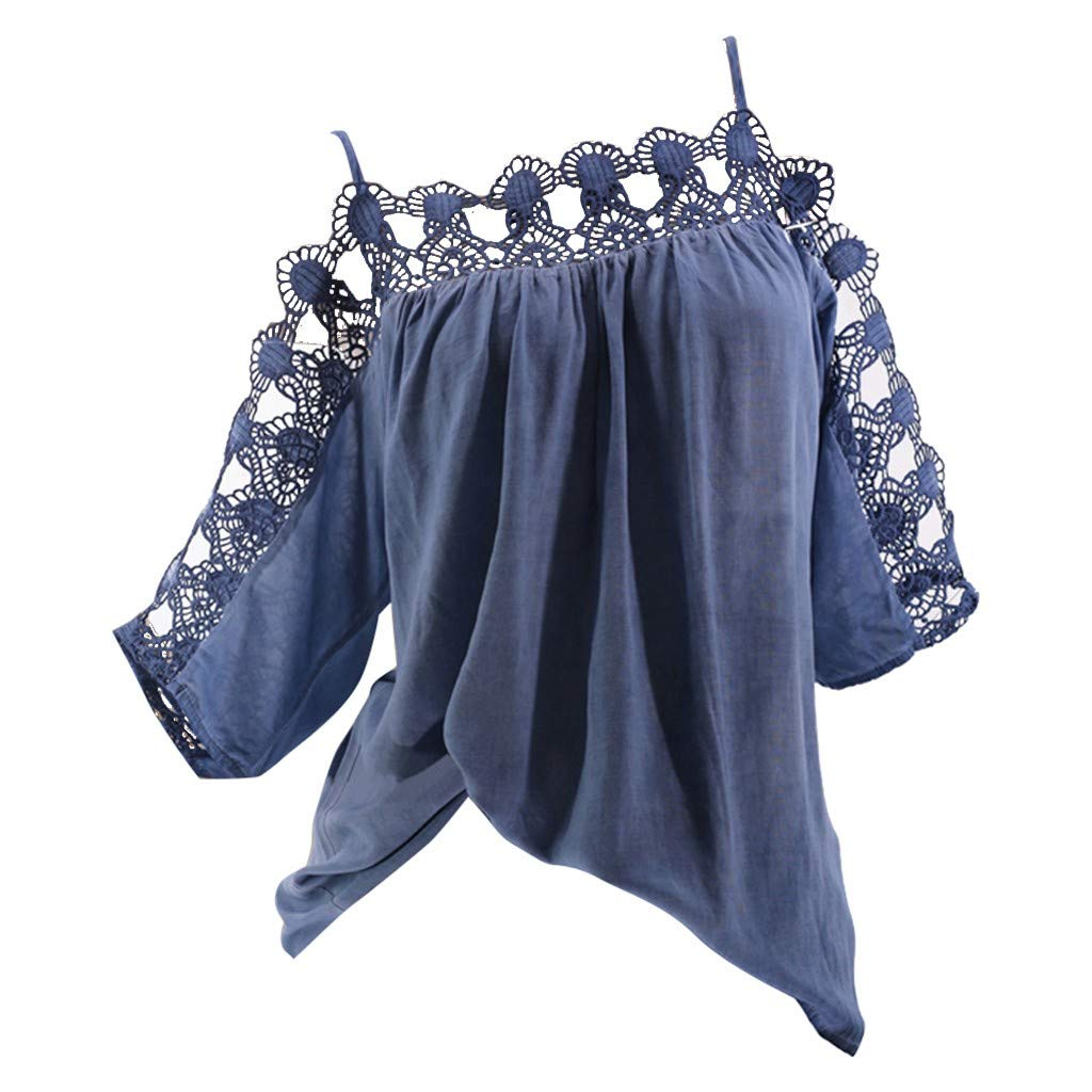 〓COOlCCI〓Womens Casual Tee Shirts Cold Shoulder Flowy Lace Hollow Out Summer Tops Basic Half Sleeve Tops Blouse Blue by COOlCCI_Womens Clothing