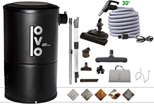 OVO Compact 550 Airwatts System Power Unit with Carpet Deluxe Accessory Kit Included Central Vacuum Cleaner, Condo-Vac, Black