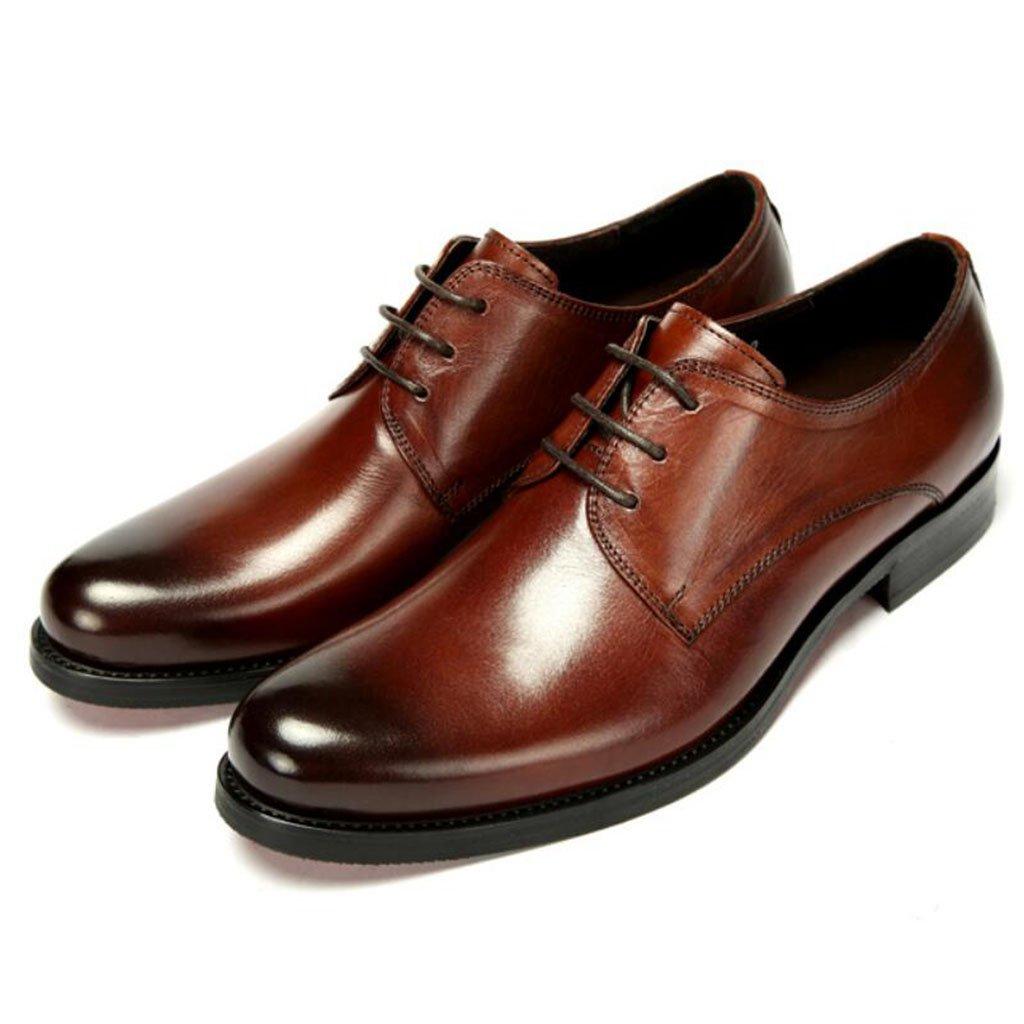 GAOLIXIA Zapatos de negocios de cuero de los hombres Zapatos de vestir con cordones bajos Zapatos de carrera de trabajo de moda Zapatos de banquete de boda de gran tamaño 38--45 ( Color : Marrón , tamaño : 38 ) 38 Marrón
