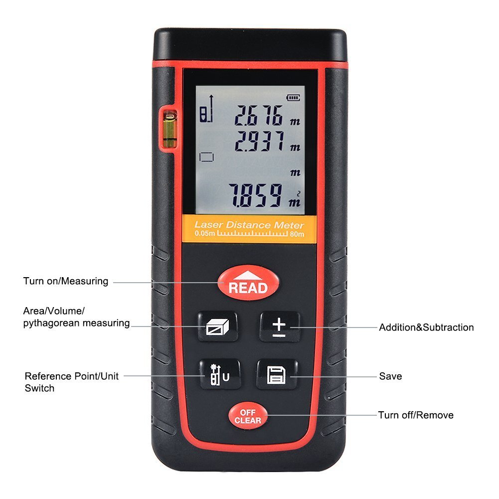 TopOne Digital Laser Measuring Tape Laser Measurement Tool with LCD Backlight Display for Distance and Angle Measurement,Area and Volume Calculation (Accuracy 0.2cm) (S-262Ft) by TopOne (Image #3)